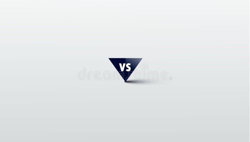 Tegenover embleem versus brieven voor sporten en de strijdconcurrentie MMA, Slag, versus gelijke, spelconcept concurrerend versus vector illustratie