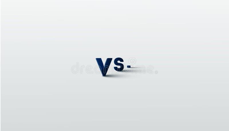 Tegenover embleem versus brieven voor sporten en de strijdconcurrentie MMA, Slag, versus gelijke, spelconcept concurrerend versus stock illustratie