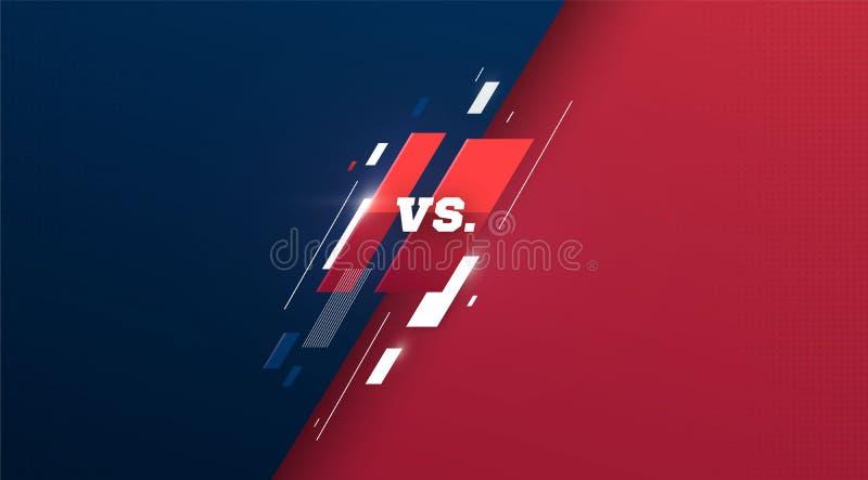 Tegenover embleem versus brieven voor sporten en de strijdconcurrentie MMA, UFS, Slag, versus gelijke, spelconcept concurrerend v stock illustratie