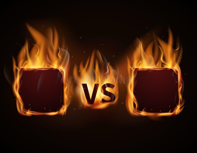 Tegenover het scherm met brandkaders en versus brieven Vector illustratie stock illustratie