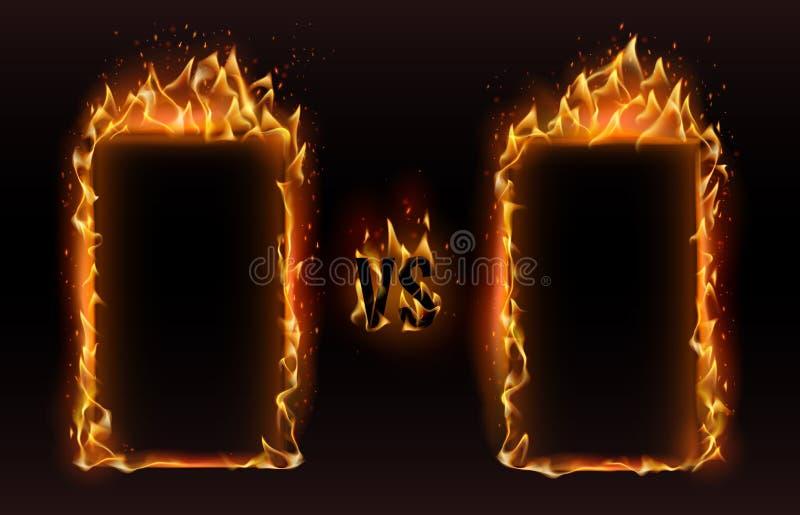 Tegenover kaders De brand versus kader, het scherm voor het in dozen doen tegenover sporten bestrijdt de vectorillustratie van de stock illustratie