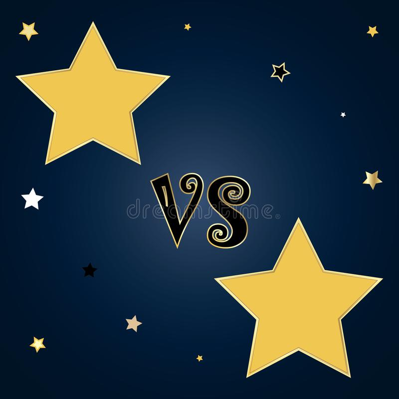 Tegenover malplaatje met de kentekens van de stervorm voor tekst op nachthemel royalty-vrije illustratie