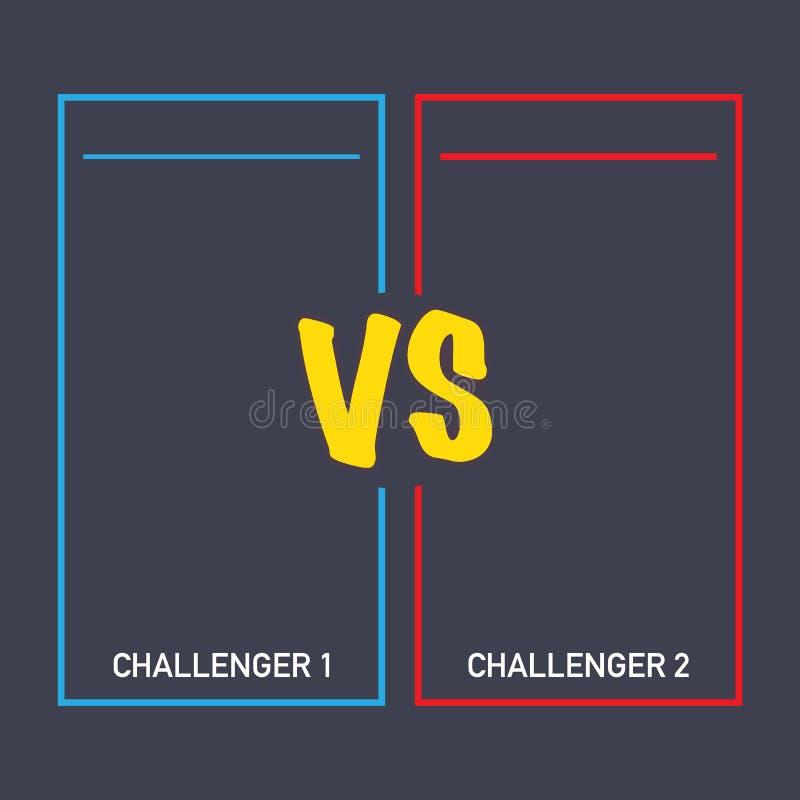 Tegenover slag, het bedrijfsconfrontatiescherm met neonkaders en versus embleem vectorillustratie De gelijke van de slagbanner royalty-vrije illustratie