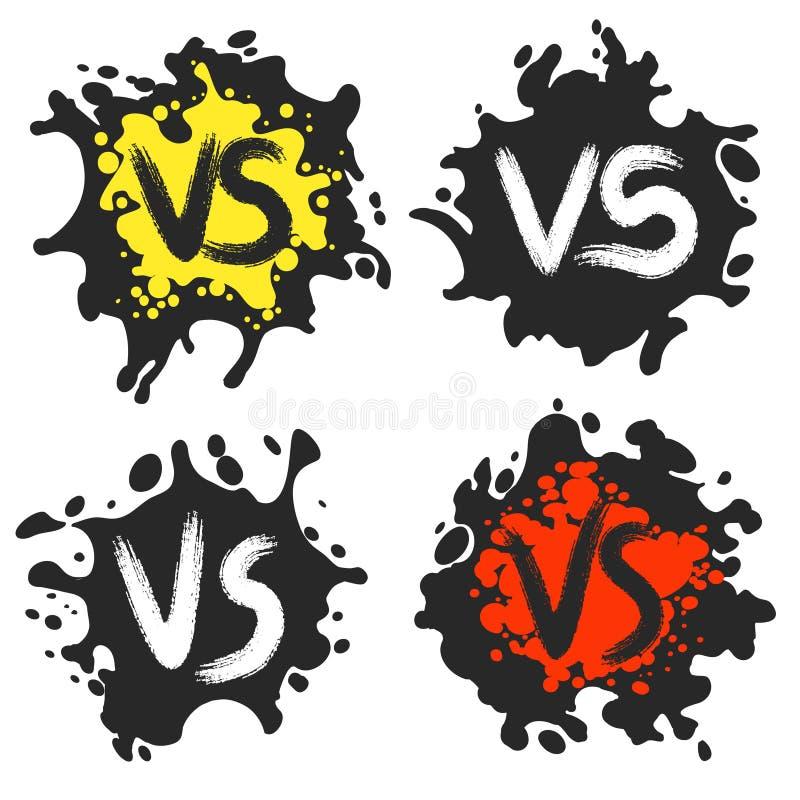 Tegenover strijdetiketten op vuile vlekken vector illustratie