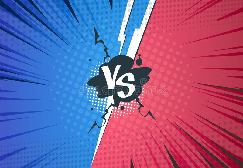 Tegenover strippaginaachtergrond De slag van het Superheropop-art, beeldverhaal halftone stijl, retro VERSUS uitdagingsmalplaatje vector illustratie