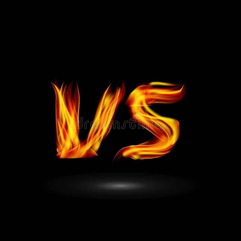 Tegenover Vector De Strijd van achtergrond vlambrieven Ontwerp De concurrentiepictogram Strijdsymbool vector illustratie