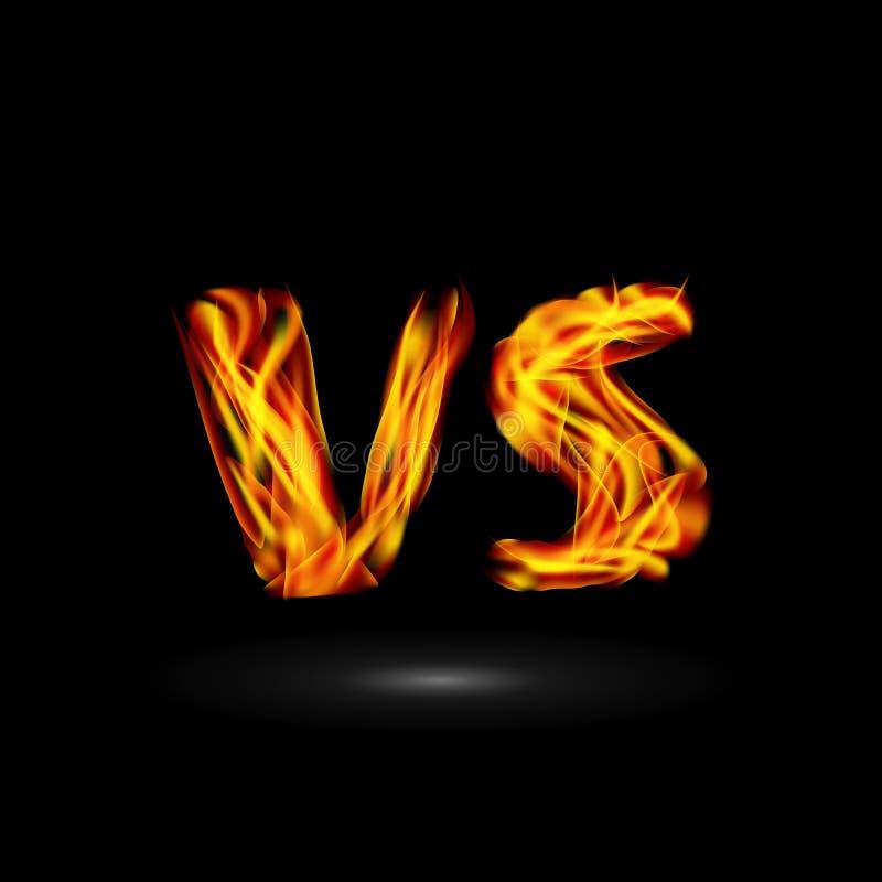 Tegenover Vector De Strijd van achtergrond vlambrieven Ontwerp De concurrentiepictogram Strijdsymbool royalty-vrije illustratie
