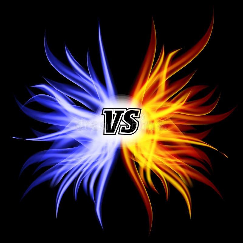 Tegenover Vector VERSUS Brieven Van de achtergrond vlamstrijd Ontwerp Het concept van de concurrentie Strijdsymbool stock illustratie