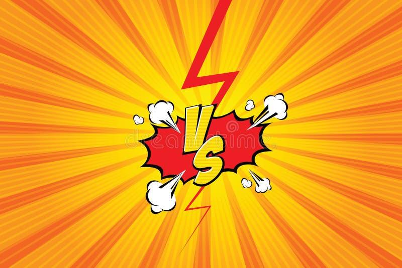 tegenover VERSUS Het ontwerp strijd van de achtergrondstrippaginastijl Vector illustratie royalty-vrije illustratie