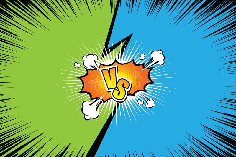 tegenover VERSUS Het ontwerp strijd van de achtergrondstrippaginastijl Vector illustratie vector illustratie