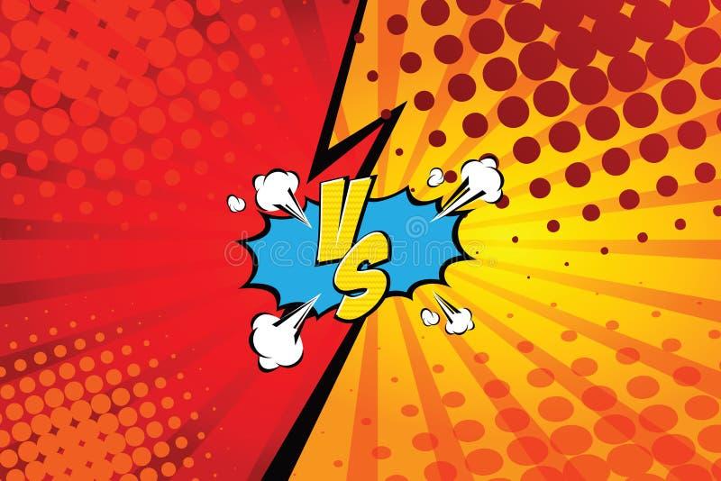 tegenover VERSUS Het ontwerp strijd van de achtergrondstrippaginastijl Vector illustratie stock illustratie