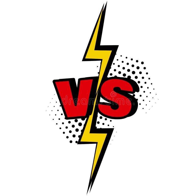 tegenover VERSUS woord in pop-artstijl Slag versus gelijke, spel Vector vector illustratie
