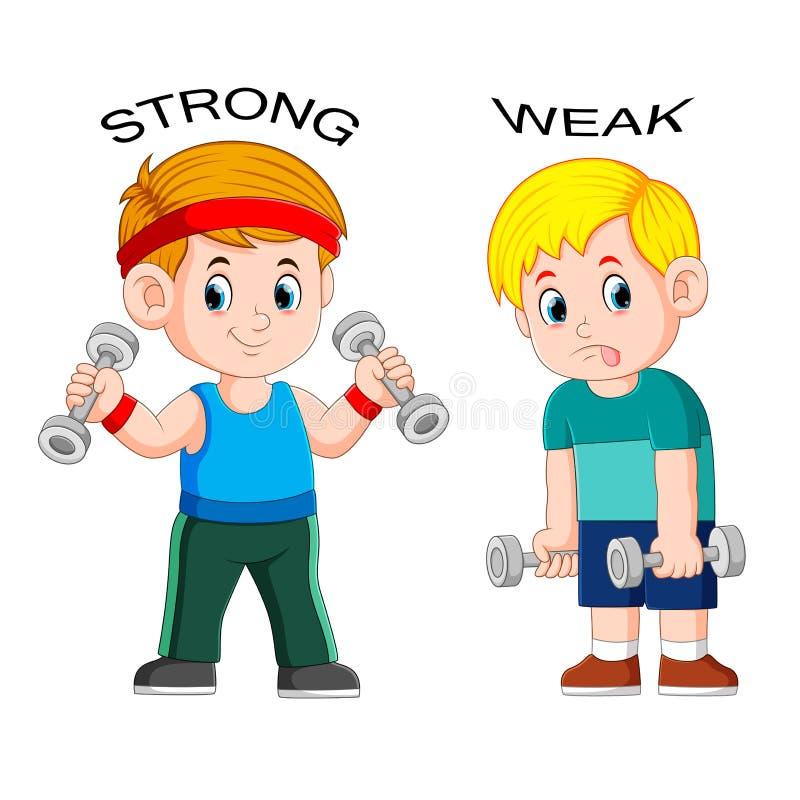 Tegenovergesteld bijvoeglijk naamwoord met sterk en zwak vector illustratie