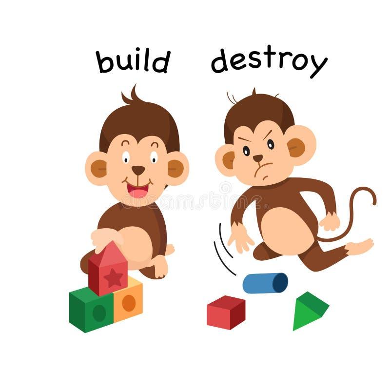 Tegenovergesteld bouw en vernietig illustratie stock illustratie