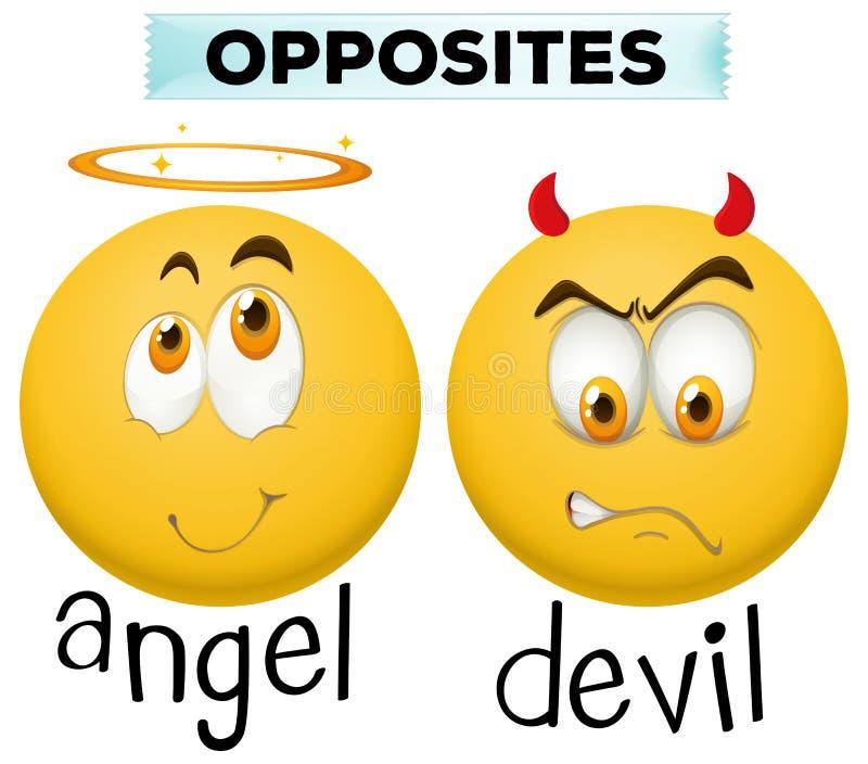 Tegenovergesteld karakter voor engel en duivel royalty-vrije illustratie