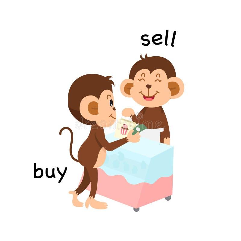 Tegenovergesteld verkoop en koop illustratie royalty-vrije illustratie
