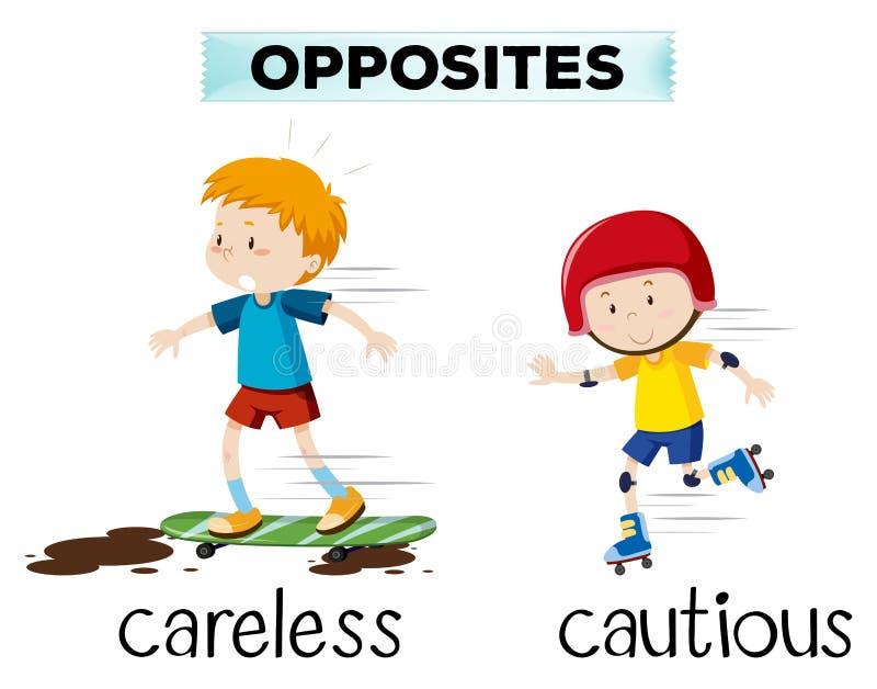 Tegenovergesteld woord van achteloos en voorzichtig stock illustratie