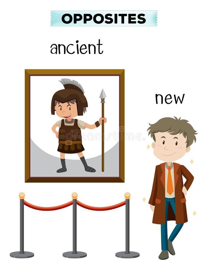 Tegenovergesteld woord van oude nieuw vector illustratie