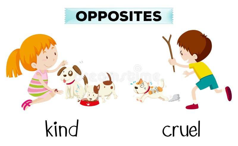 Tegenovergesteld woord van vriendelijk en wreed vector illustratie