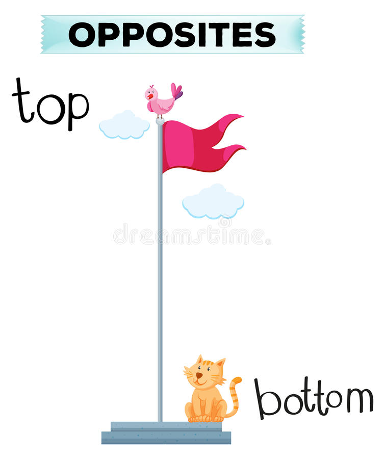 Tegenovergesteld woord voor bovenkant en bodem vector illustratie