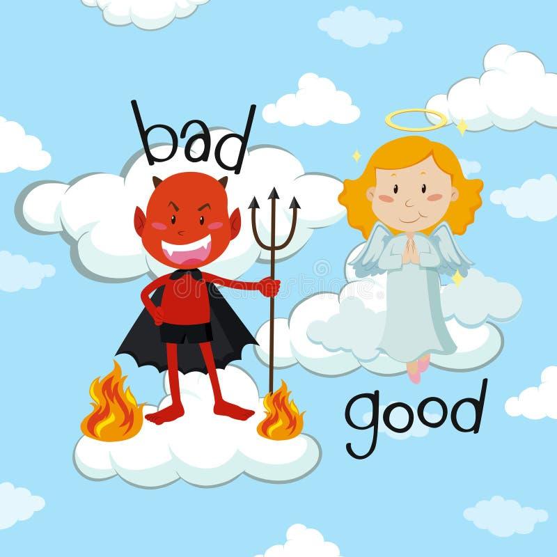 Tegenovergesteld woord voor slecht en goed met engel en duivel royalty-vrije illustratie