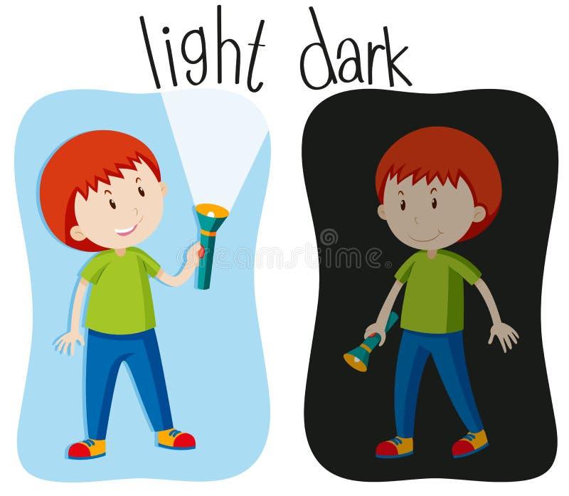 Tegenovergestelde bijvoeglijke naamwoorden met licht en dark royalty-vrije illustratie