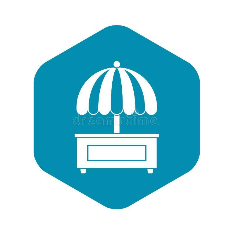 In tegenovergestelde richting winkelend met paraplupictogram, eenvoudige stijl vector illustratie