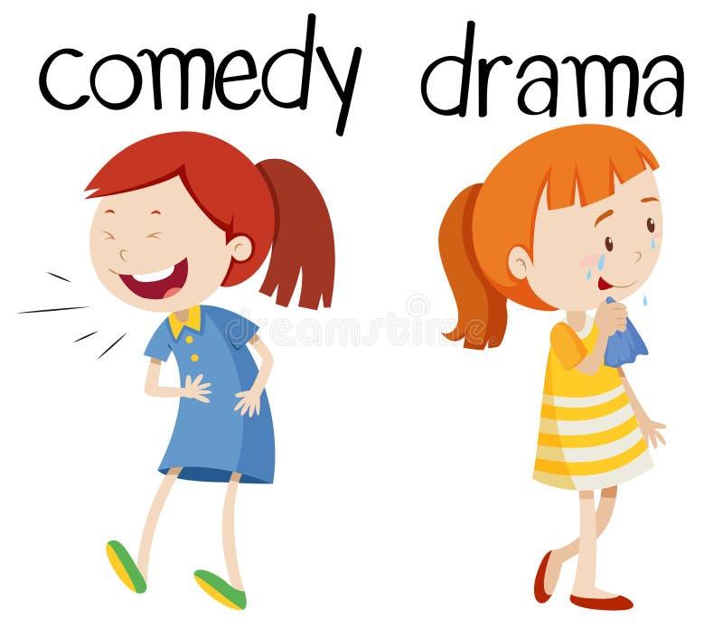 Tegenovergestelde woorden voor komedie en drama royalty-vrije illustratie