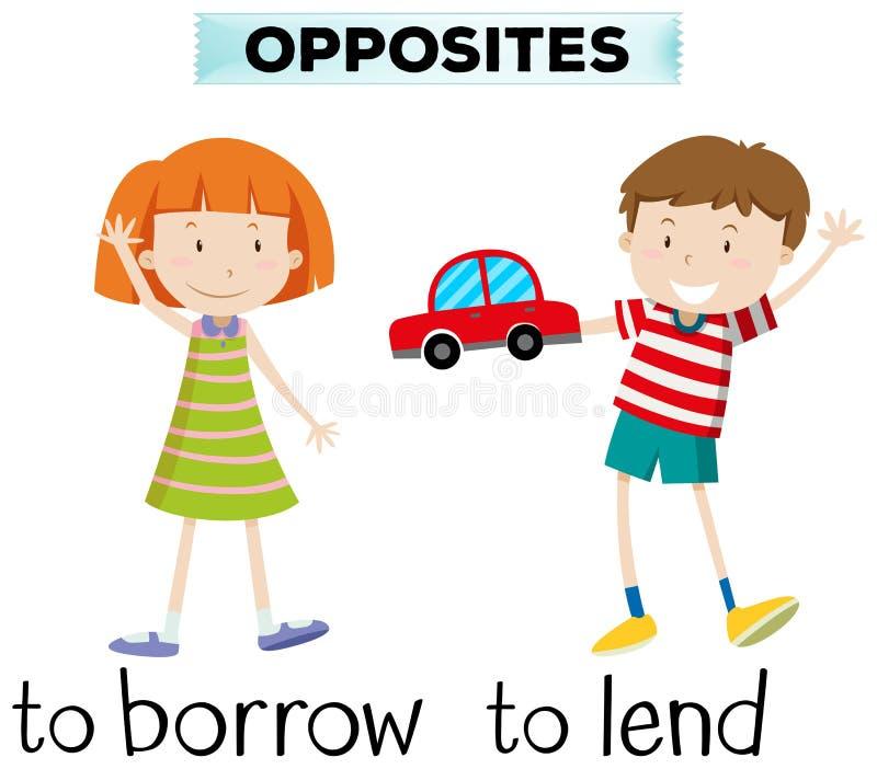 Tegenovergestelde wordcard voor borrow en leent vector illustratie