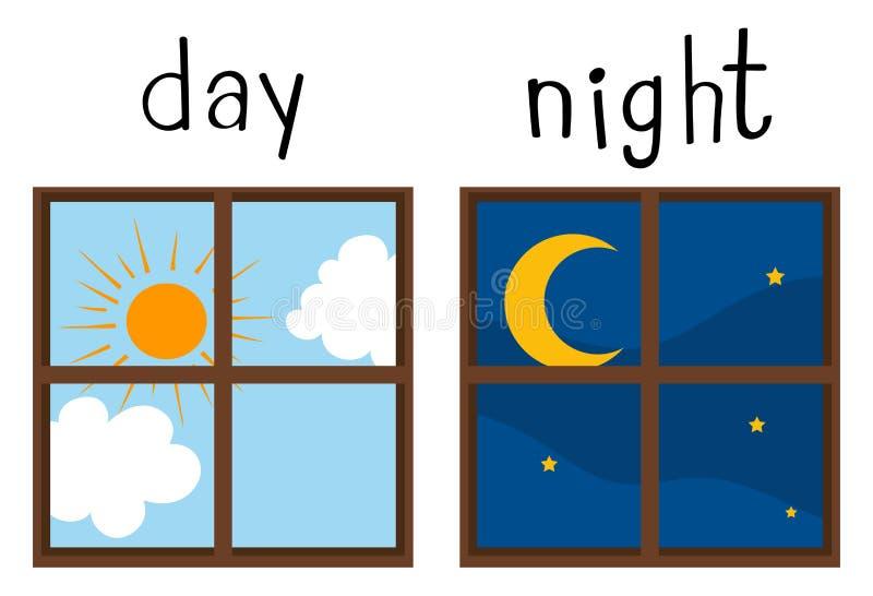 Tegenovergestelde wordcard voor dag en nacht royalty-vrije illustratie