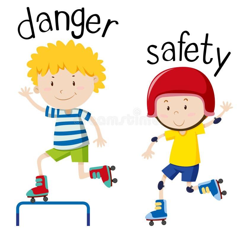 Tegenovergestelde wordcard voor gevaar en veiligheid stock illustratie