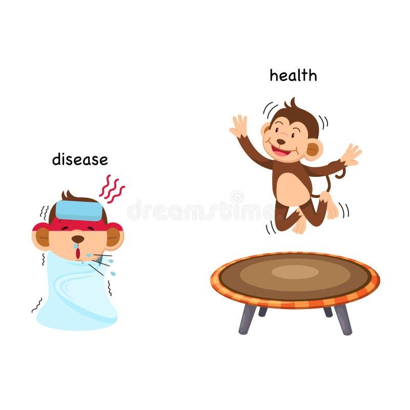Tegenovergestelde ziekte en gezondheid stock illustratie