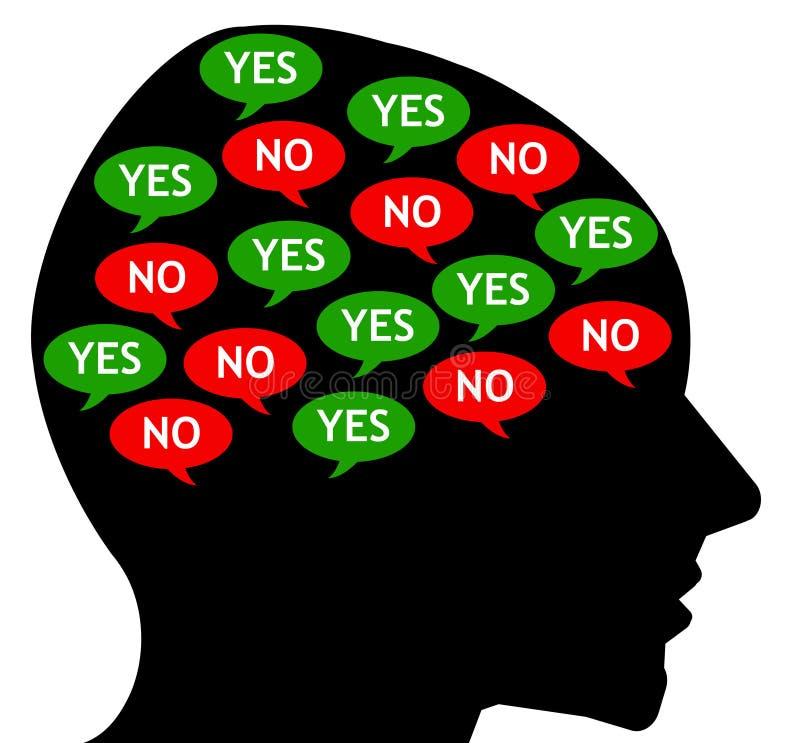 Tegenstrijdige interne gedachten vector illustratie