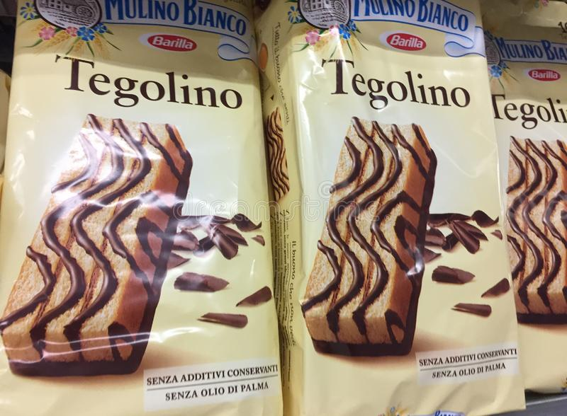 Tegolino baked snack by Mulino Bianco. Rome, Italy - August 16, 2018: Tegolino baked snack by Mulino Bianco White Mill, brand controlled by the Italian food royalty free stock images