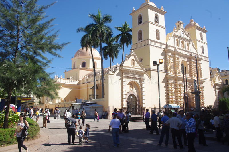 Tegucigalpa. Cathedral of San Miguel in Tegucigalpa, capital city of Honduras. The cathedral is about 60 meters long, and the dome reaches 30 meters, the style stock photography