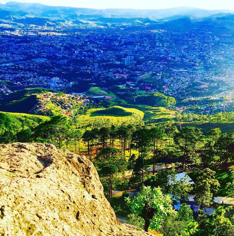 Tegucigalpa Valley, Honduras. Green hills and a town near Tegucigalpa, Honduras royalty free stock images