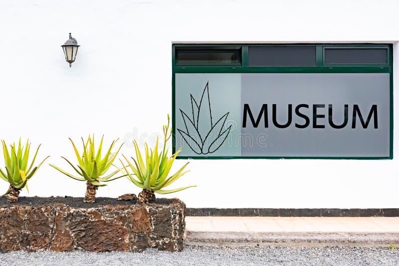 TEGUISE, LANZAROTE EILAND, CANARISCHE EILANDEN, SPANJE - 12 DEC, 2018: Aloë Vera Musem, Lanzarote stock foto's