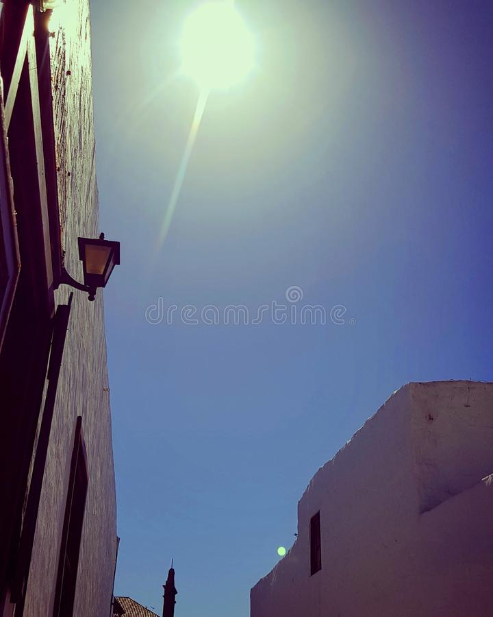 Teguise, sunny day on the market place, Lanzarote. stock image