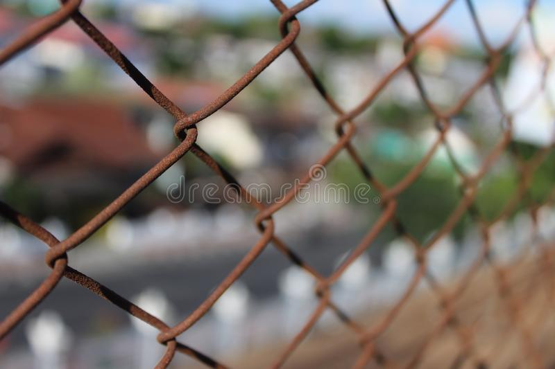 Teh rusty of chainlink fence royalty free stock image