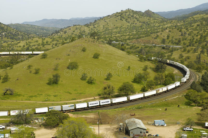The Tehachapi Train Loop near Tehachapi California is the historic location of the Southern Pacific Railroad where freight trains royalty free stock photography
