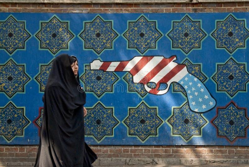 Teherán mural americana anti Irán imagen de archivo