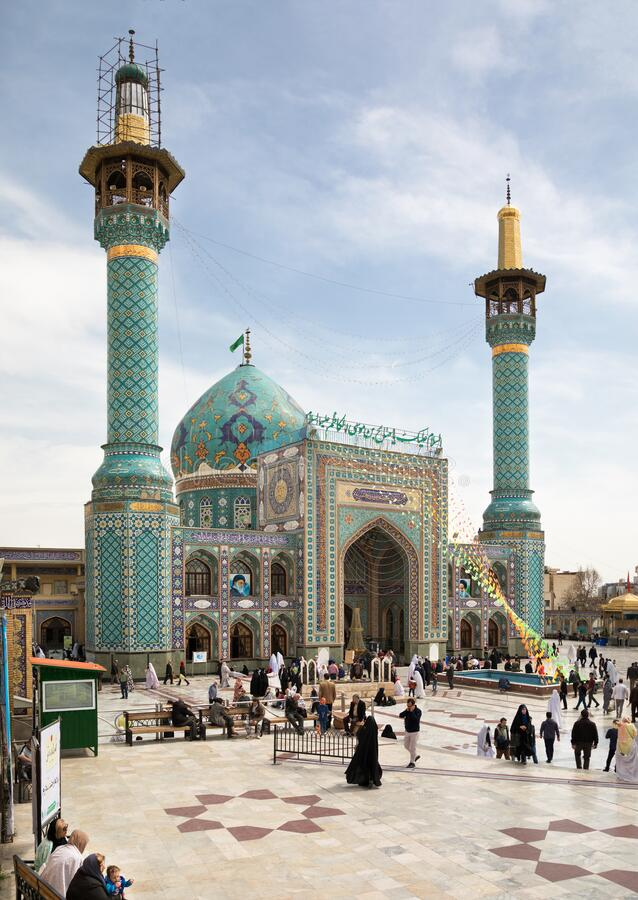 Exterior of Imamzadeh Saleh Mosque in Tajrish District of Tehran royalty free stock images