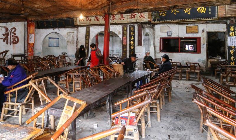 Tehuset i den forntida staden, chengdu, porslin royaltyfri fotografi