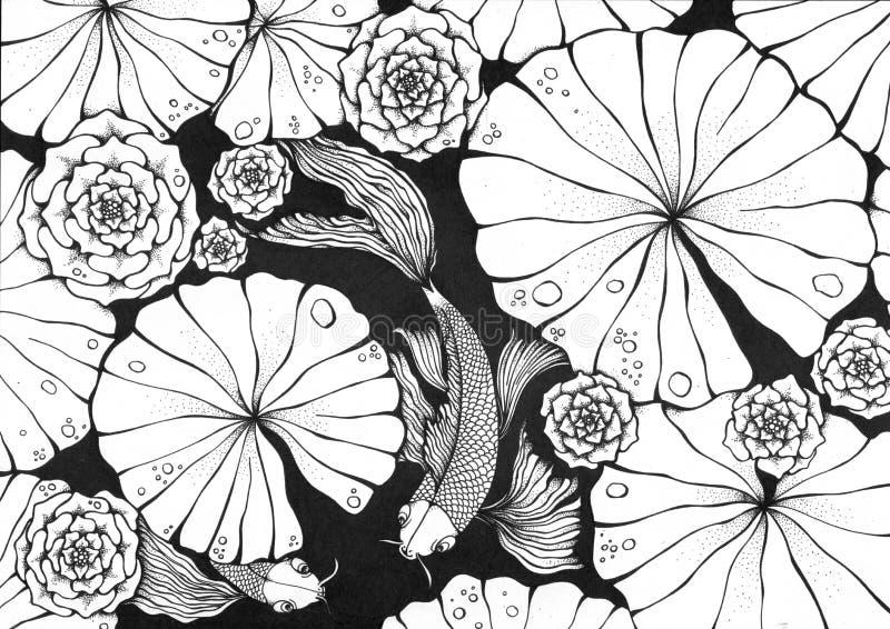 Teich mit Koi Karpfen stock abbildung