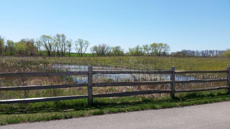Teich und Zaun stockfoto