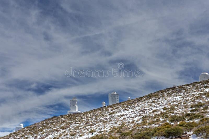 Teide astronomisch waarnemingscentrum stock foto