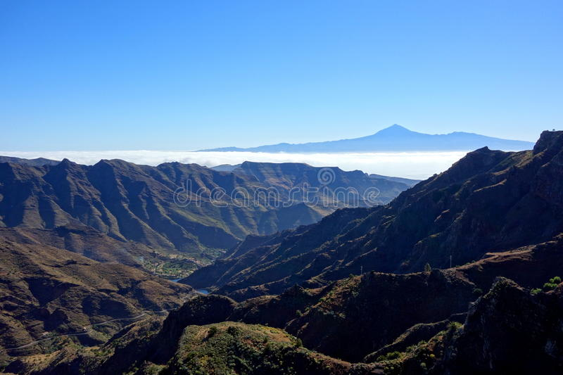 Teide from Degollada de Peraza. In La Gomera island royalty free stock photo