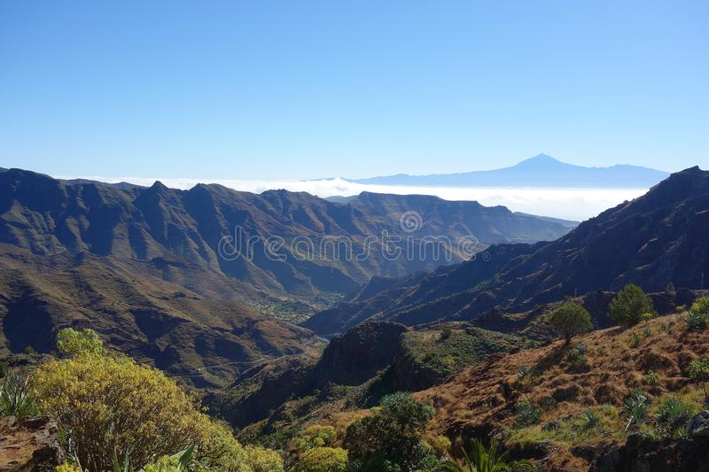 Teide from Degollada de Peraza. In La Gomera island royalty free stock photos