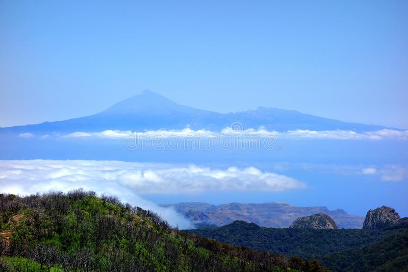 Teide from Garajonay. Roques and Teide from Garajonay La Gomera island royalty free stock photo