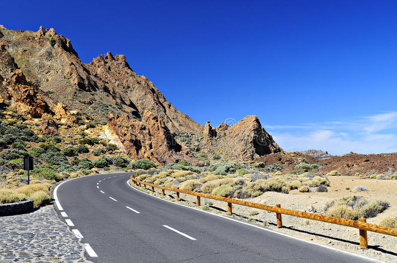Teide national park. Curved road in Teide natinal park, tenerife, spain royalty free stock photo